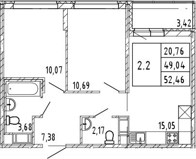 3Е-к.кв, 49.04 м², от 7 этажа