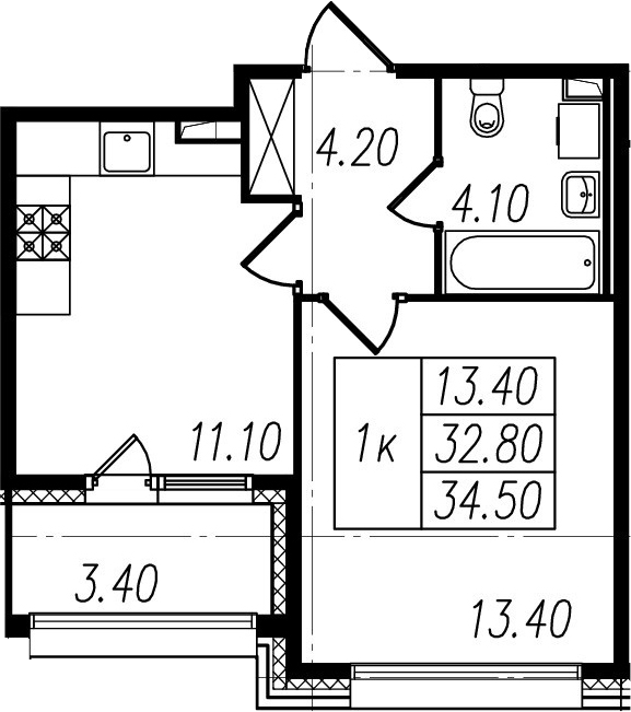 1-комнатная квартира, 32.8 м², 1 этаж – Планировка