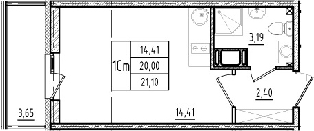 Студия, 20 м², 3 этаж