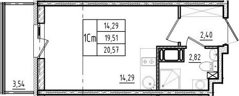 Студия, 19.51 м²– 2