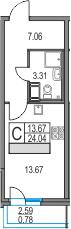 Студия, 24.04 м², 3 этаж