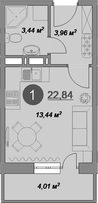 Студия, 22.84 м²– 2