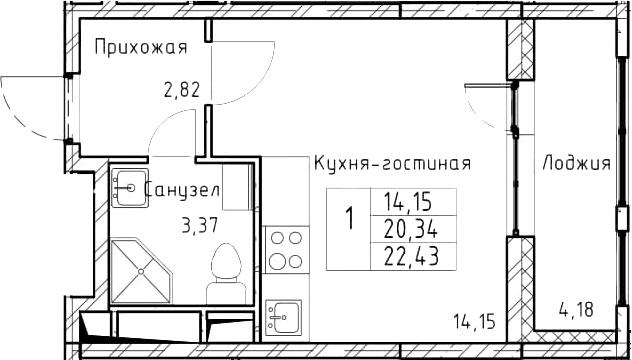 Студия, 22.43 м²