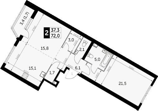 2-к.кв, 72 м², 17 этаж