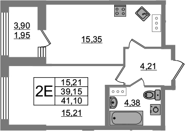 2Е-комнатная, 39.15 м²– 2