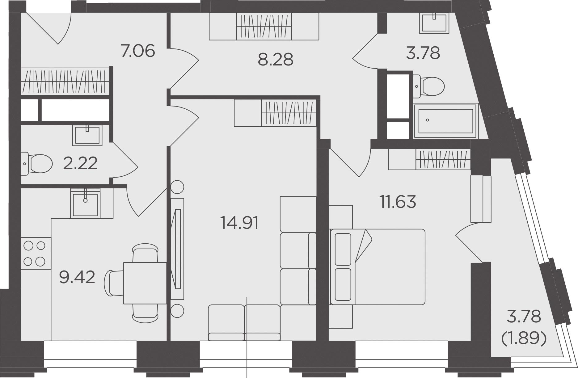 2-к.кв, 59.19 м²