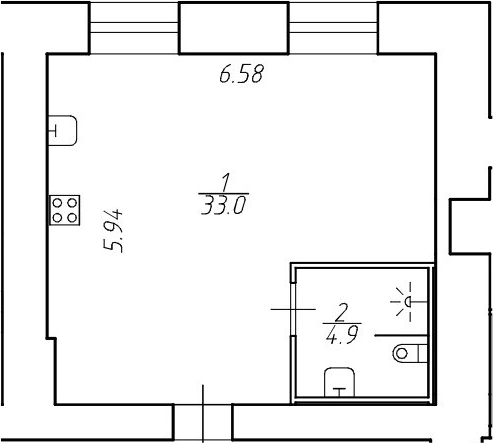 Студия, 37.9 м²– 2