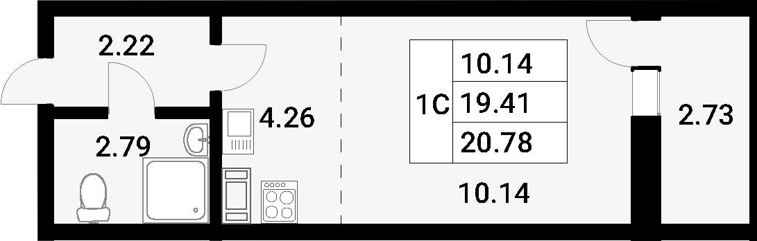 Студия, 20.78 м²– 2