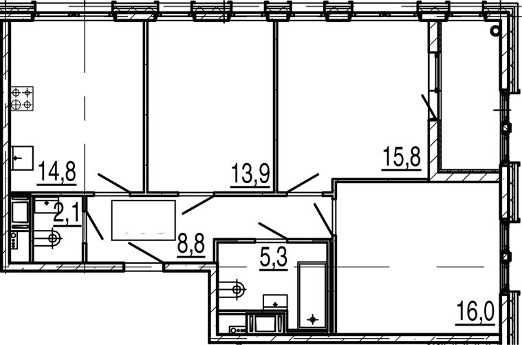 3-к.кв, 79.5 м²