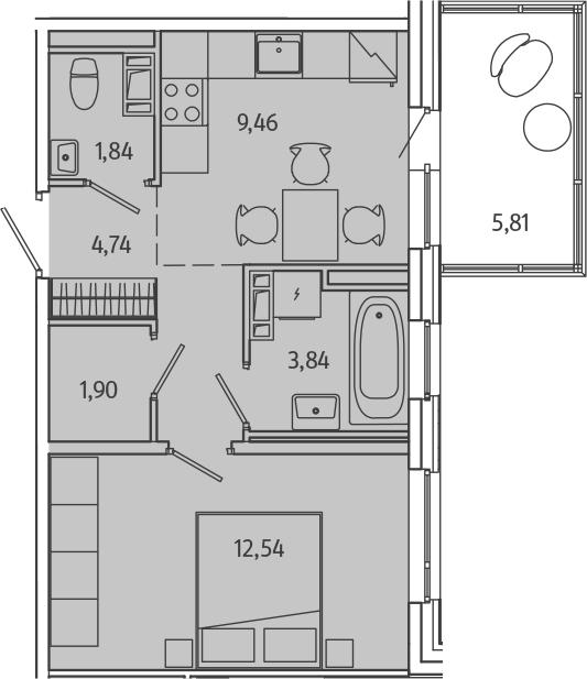 1-комнатная, 36.08 м²– 2