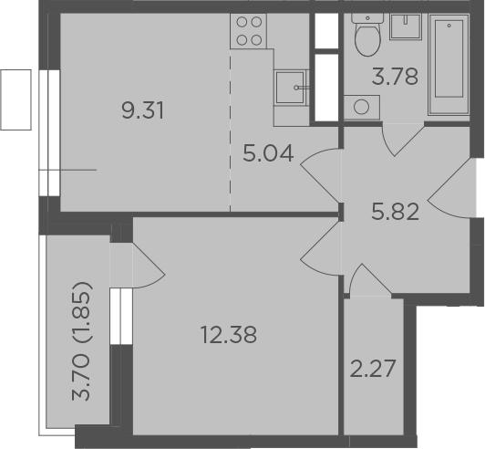 2-к.кв (евро), 42.3 м²