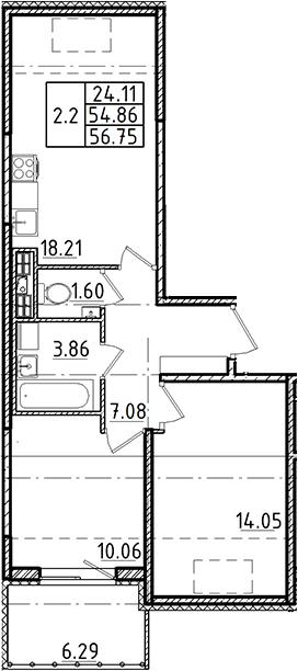 3Е-к.кв, 54.86 м²