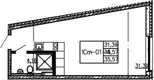 Студия, 35.57 м²– 2
