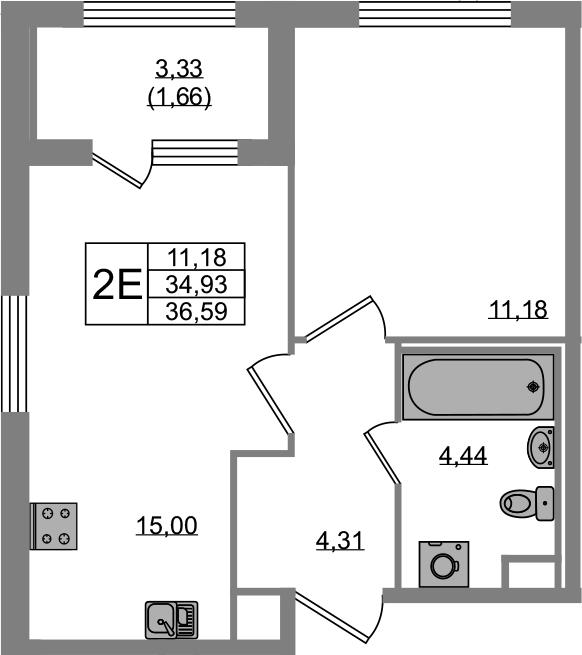 2Е-комнатная, 34.93 м²– 2