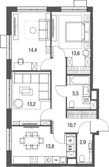 3-к.кв, 74.1 м², 2 этаж