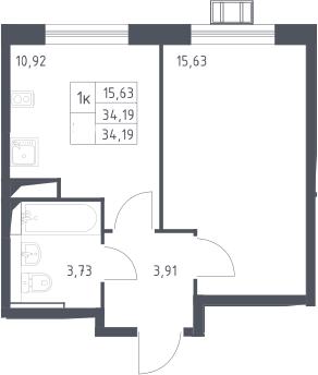 1-комнатная, 34.19 м²– 2