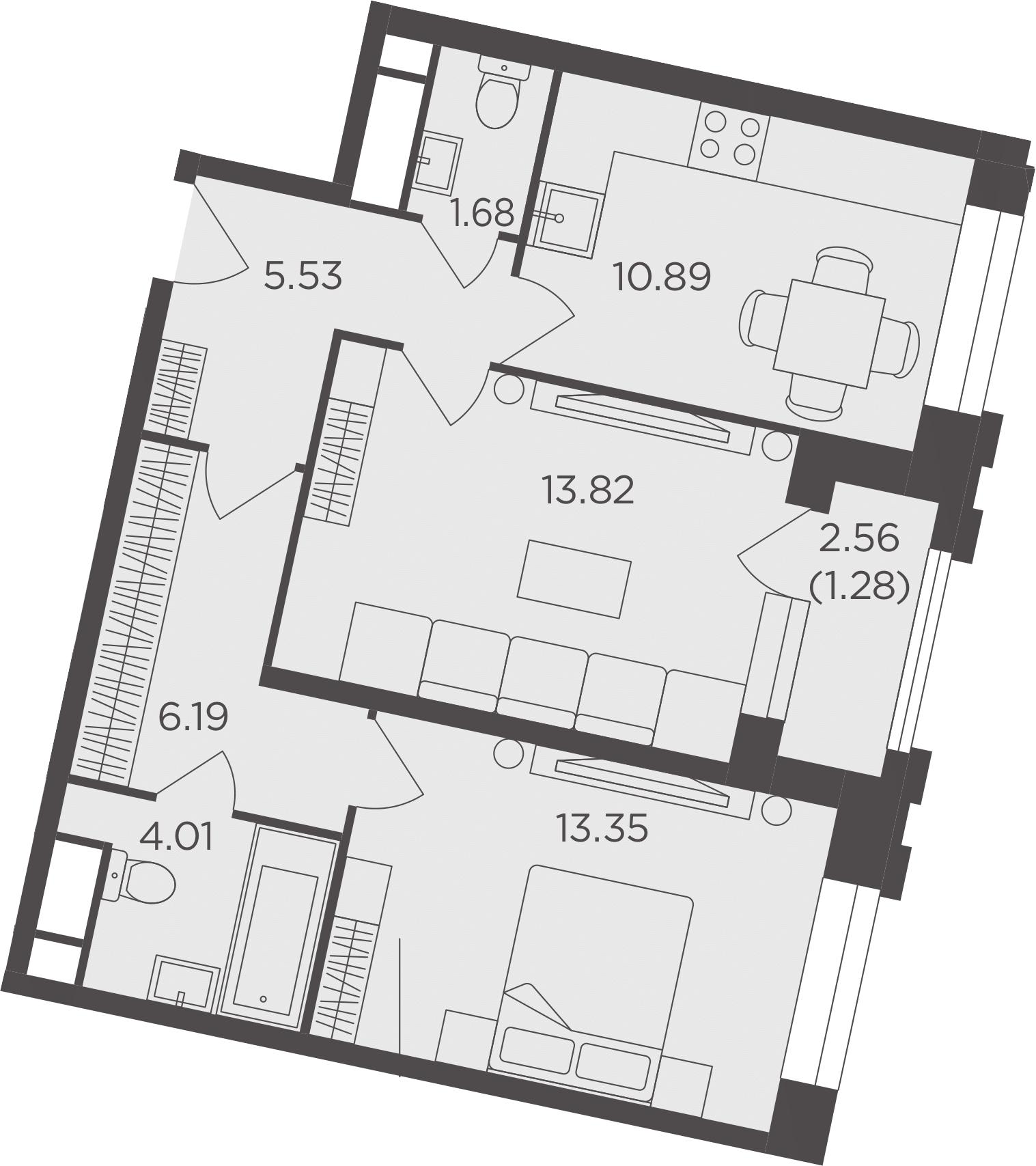 2-комнатная, 56.75 м²– 2