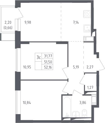 3Е-к.кв, 52.16 м², 10 этаж