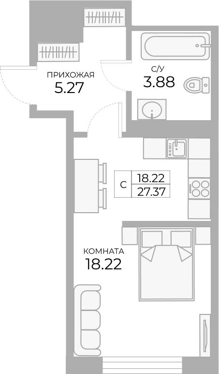 Студия, 27.37 м²