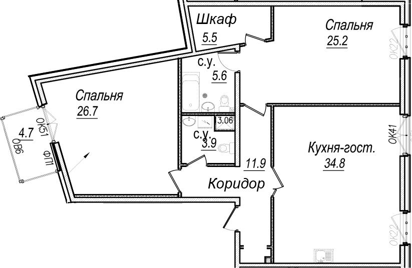 3Е-к.кв, 115 м², 6 этаж