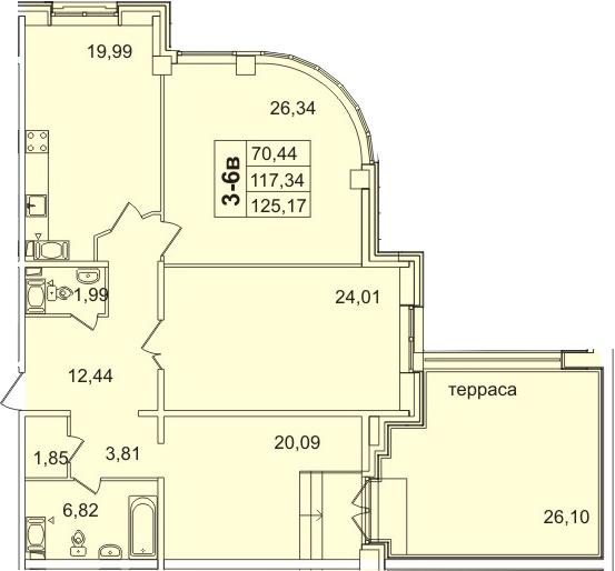 3-к.кв, 143.44 м²