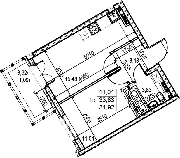 1-комнатная, 34.92 м²– 2