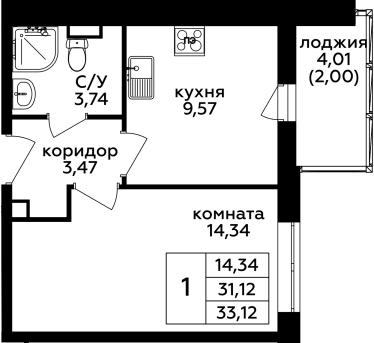 1-комнатная, 33.12 м²– 2