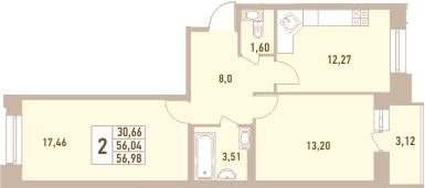 2-к.кв, 56.98 м²