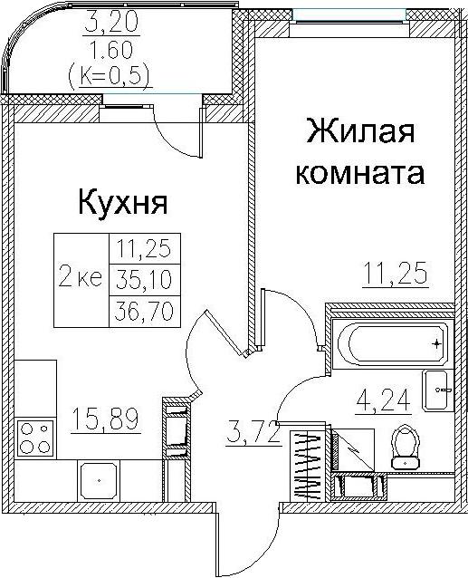 2Е-к.кв, 36.7 м², 3 этаж