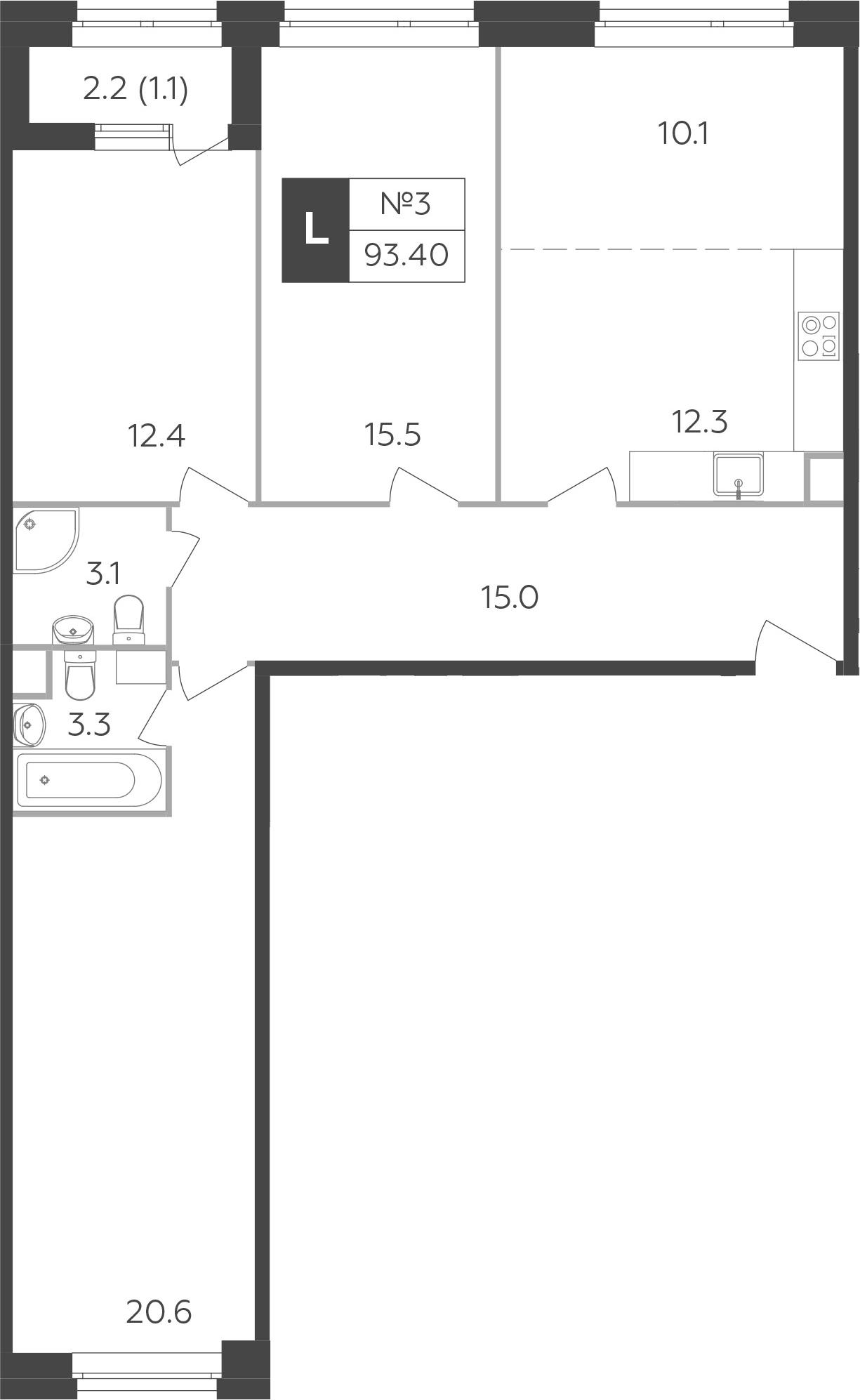 4-к.кв (евро), 94.5 м²