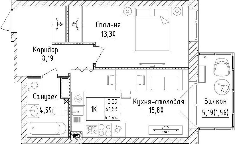 1-комнатная, 43.44 м²– 2