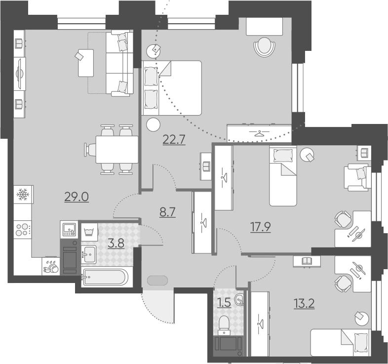 4Е-комнатная квартира, 96.8 м², 4 этаж – Планировка
