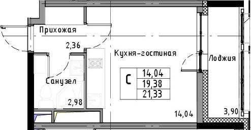 Студия, 21.33 м², 3 этаж