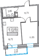 2-к.кв (евро), 46.9 м²