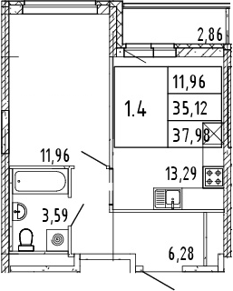2Е-комнатная квартира, 36.55 м², 3 этаж – Планировка