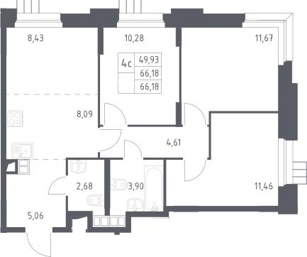 4Е-комнатная, 66.18 м²– 2