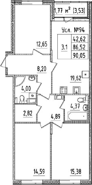 4-к.кв (евро), 90.05 м²
