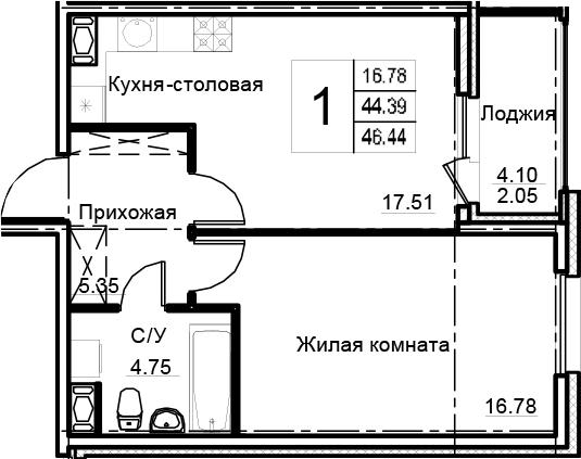 2-к.кв (евро), 48.49 м²