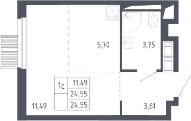 Студия, 24.55 м²– 2