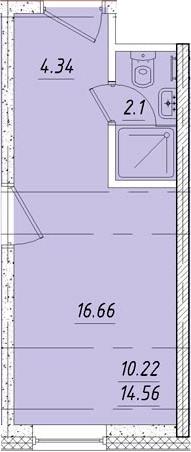 Студия, 16.8 м²– 2
