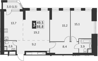 3-к.кв, 88.8 м²