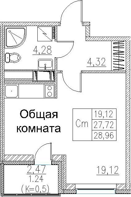 Студия, 28.96 м²