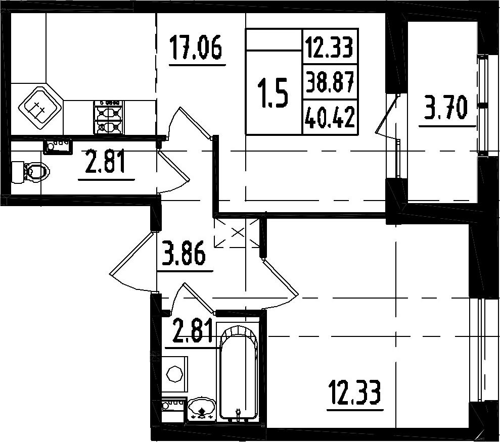 2-к.кв (евро), 42.57 м²