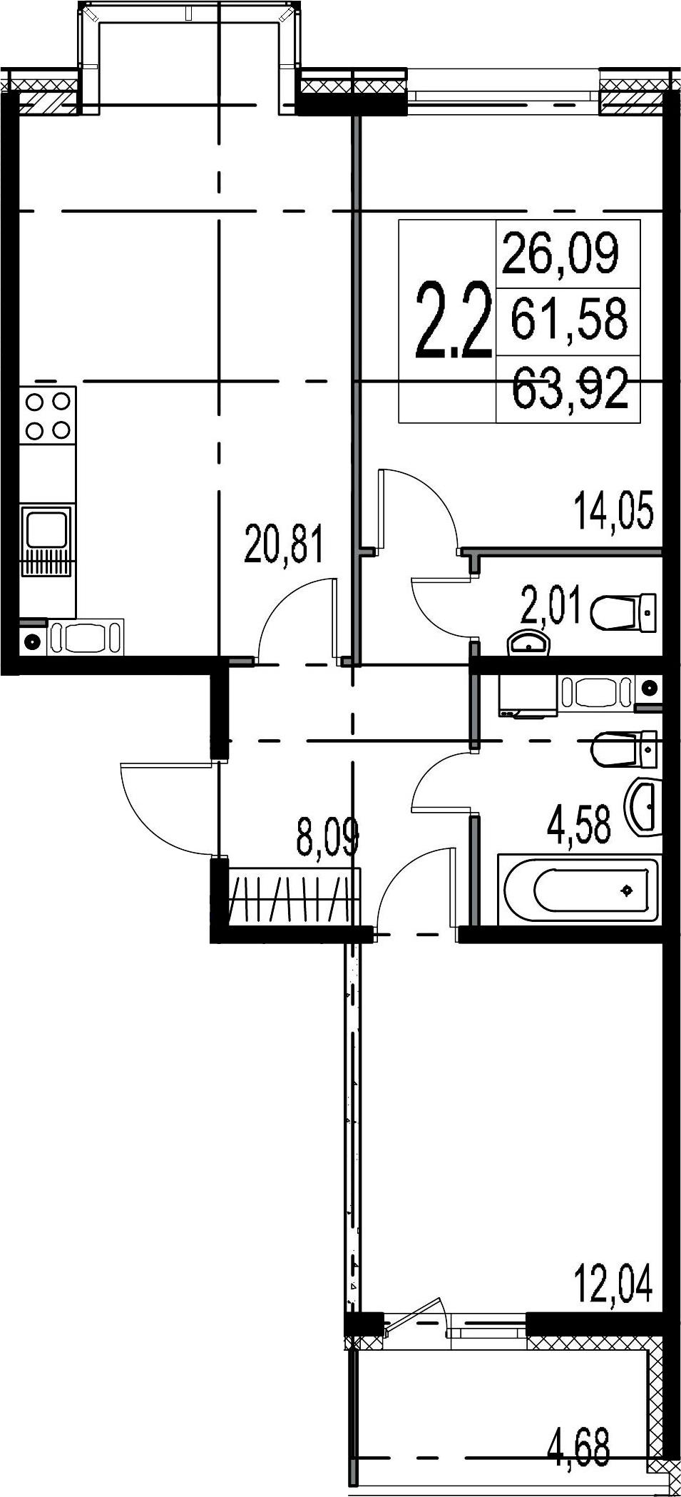 3-к.кв (евро), 66.26 м²