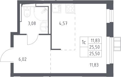 Студия, 25.5 м², 2 этаж – Планировка