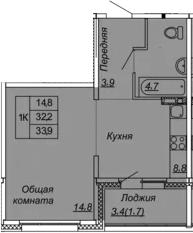 1-к.кв, 33.9 м², 2 этаж
