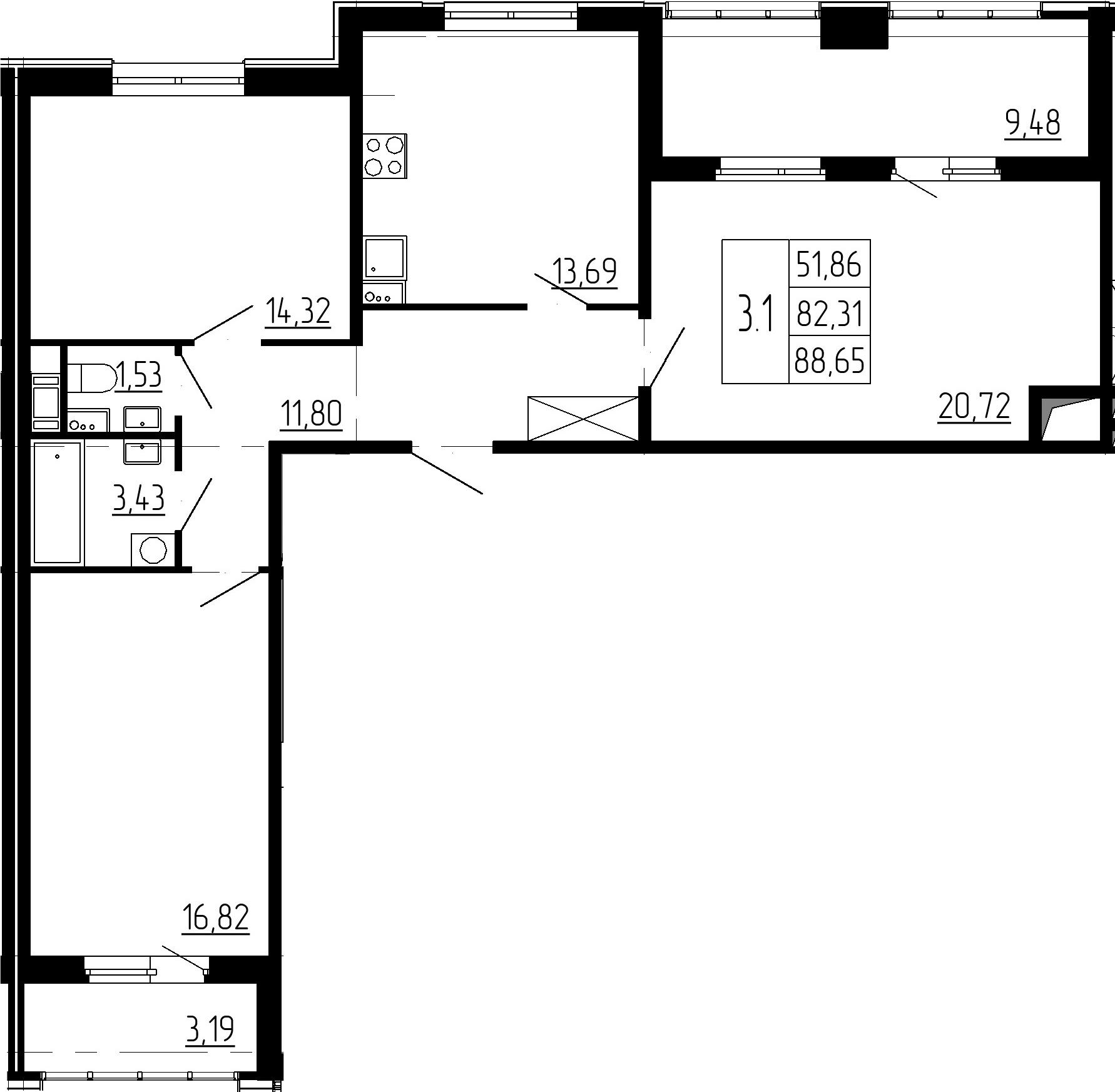3-к.кв, 94.98 м²