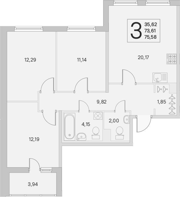4Е-комнатная, 73.61 м²– 2