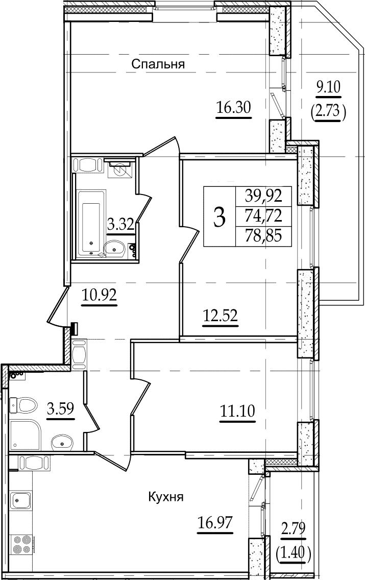 4Е-к.кв, 78.85 м², 15 этаж