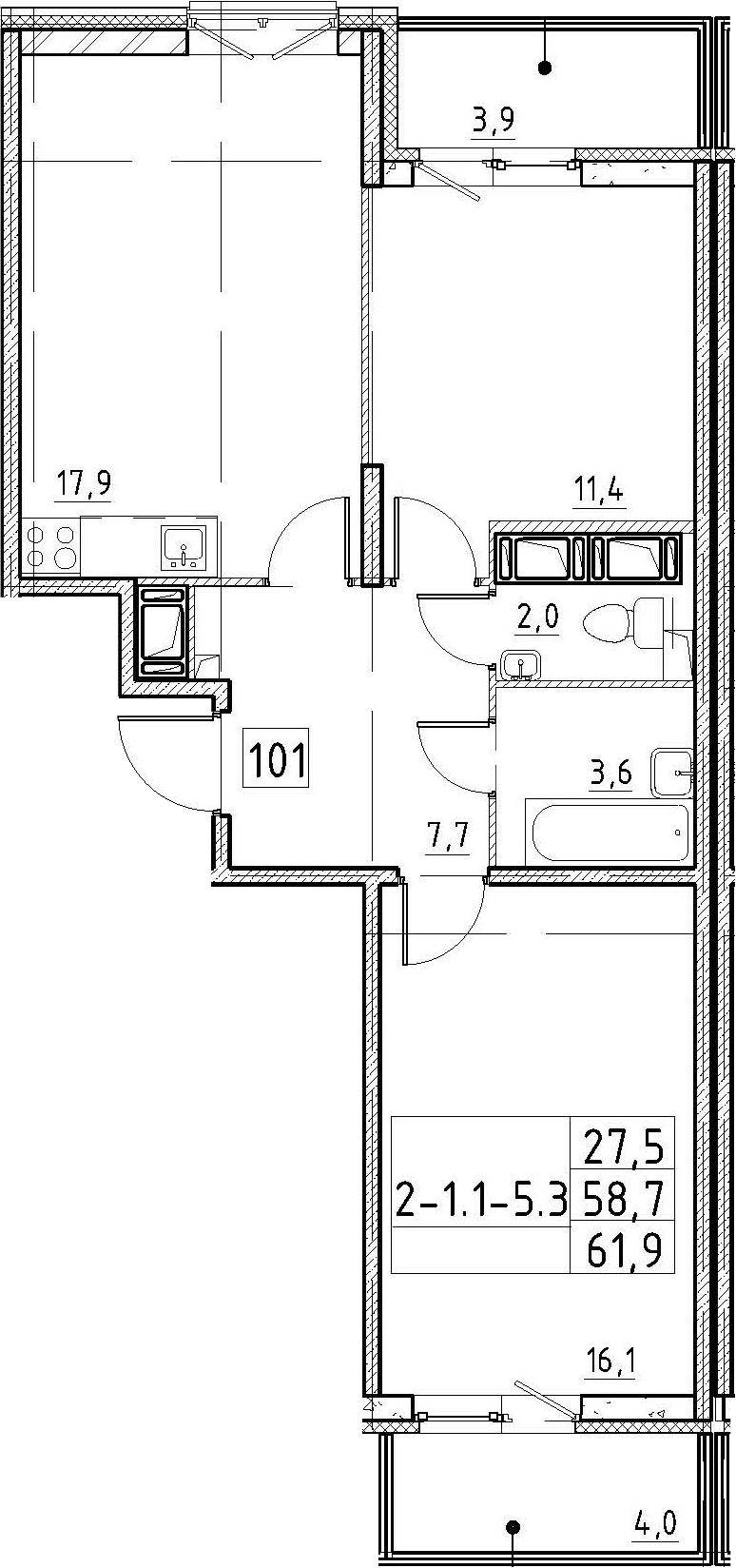 3Е-к.кв, 61.9 м²